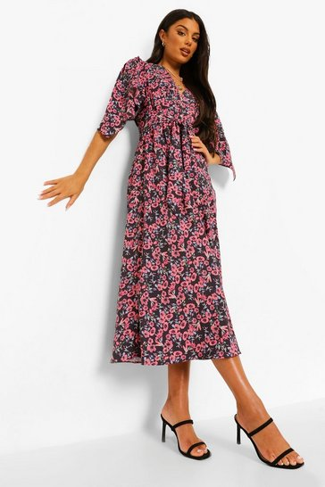 Red Floral Angel Sleeve Midaxi Dress