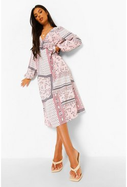 Pink Mixed Paisley Ruffle Waist Midaxi Dress