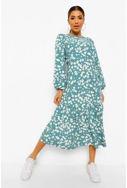 Green Ditsy Floral Balloon Sleeve Midaxi Dress
