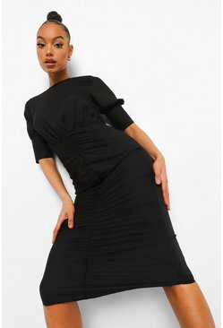 Black Ruched Puff Sleeve Midaxi Dress