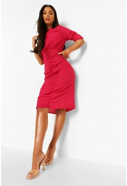 Cerise pink Ruched Puff Sleeve Midaxi Dress