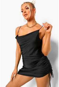 Black Satin Ruched Mini Dress