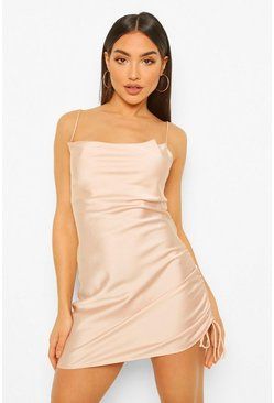 Satin Ruched Mini Dress, Champagne beige