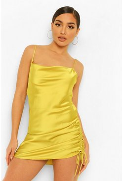 Chartreuse yellow Satin Ruched Mini Dress