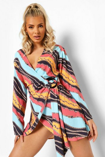 Rust orange Scarf Print Wrap Shirt Dress