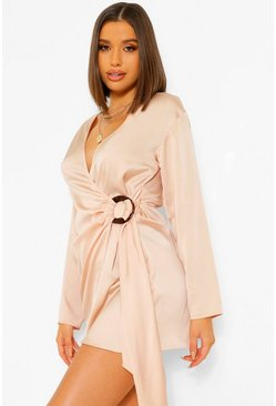 Champagne beige Satin Wrap Shirt Style Dress