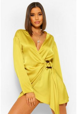 Chartreuse yellow Satin Wrap Shirt Style Dress