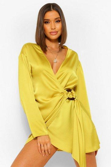 Chartreuse yellow Satin Wrap Shirt Style Dress
