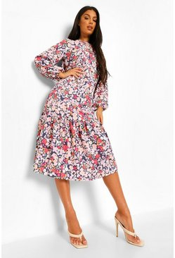 Black Mixed Floral Drop Hem Midi Smock Dress
