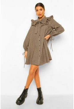 Brown Ruffle Pussybow Gingham Smock Dress