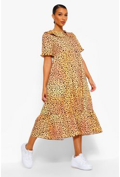 Peter Pan Collar Leopard Midi Smock Dress