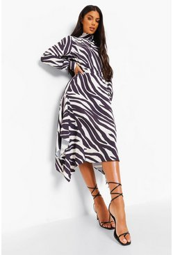Cream white Zebra Print Tie Neck Dip Hem Dress