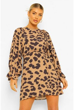 Brown Animal Print Balloon Sleeve Skater Dress
