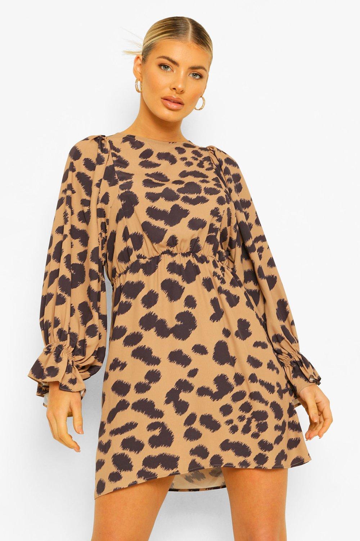 DRESSES Animal Print Balloon Sleeve Skater Dress