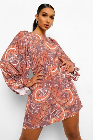 Brown Paisley Print Balloon Sleeve Skater Dress