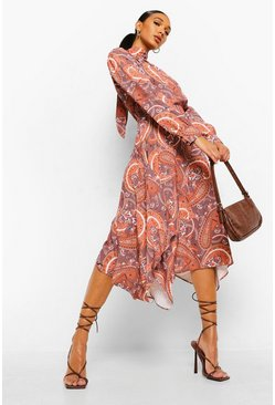 Brown Paisley Print Tie Neck Dipped Hem Dress