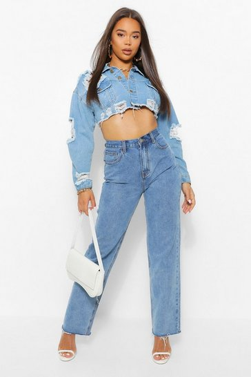 Blue Tall Straight Leg Raw Hem Jean