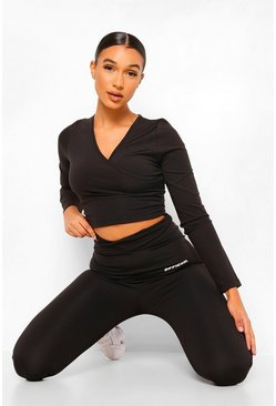 Black Wrap Front Active Leggings