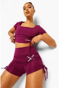 Plum purple Sport Ruche Side Hot Pants