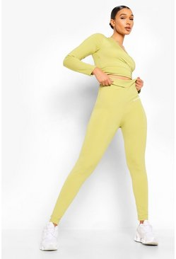 Olive green Women Wrap Front Active Leggings