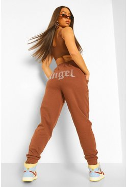 Chocolate brown Angel Diamante Joggers