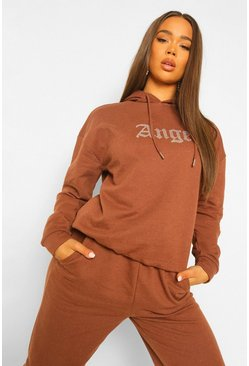 Angel Diamante Oversized Hoodie, Chocolate marrón