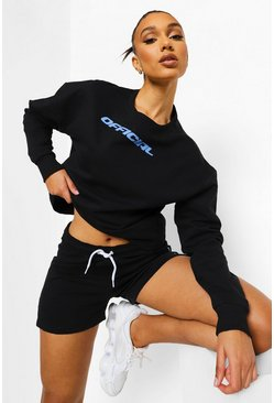 Black Korte Gestreepte Fitness Sweater