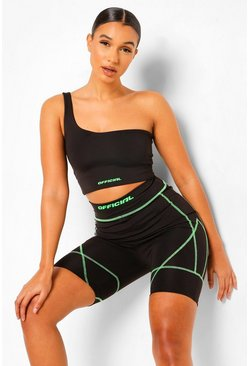 Black Neon Contrast Stitch Cycling Shorts