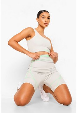 Grey Neon Contrast Stitch Cycling Shorts