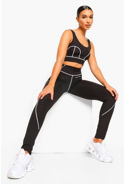 Black Reflective Stitch Active Leggings
