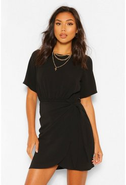 Black Woven Wrap Dress
