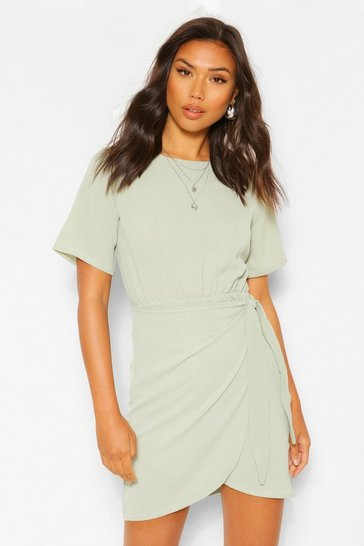 Sage green Woven Wrap Dress