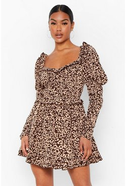 Brown Leopard Print Ruched Bodice Skater Dress