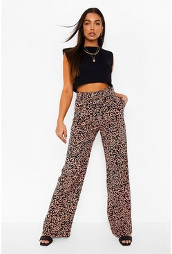 Rust orange Leopard Print Belted Wide Leg Pants