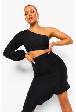 Black Textured One Shoulder Ruffle Detail Co-Ord Set