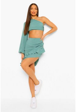 Green Textured One Shoulder Ruffle Detail Co-Ord Set