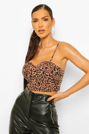 Rust orange Orange Leopard Print Pleated Corset Top