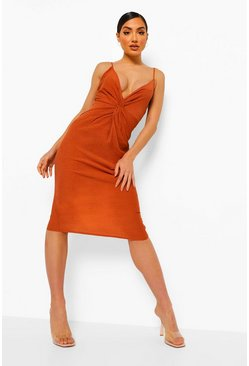 Robe nuisette mi-longue, Rust orange