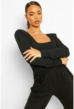 Rib Tie Back Long Sleeve Top, Black negro