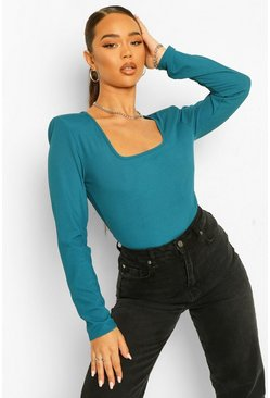 Teal green Rib Tie Back Long Sleeve Top
