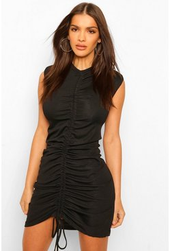 Black Shoulder Pad Ruched Front T-Shirt Dress