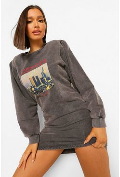 Charcoal grey Acid Wash Graphic Volume Sleeve Sweatshirt Dress