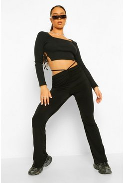 Black Geribbelde Crop Top Met Zijstrik