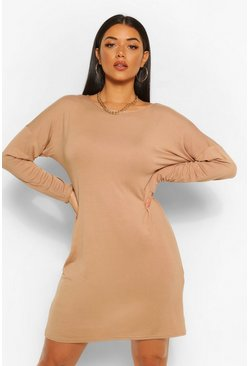 Camel beige Cross Back Long Sleeve T-Shirt Dress