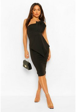 One Shoulder Pleated Detail Midi Dress, Black nero