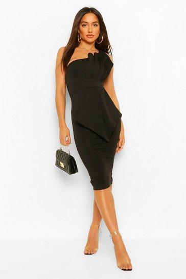 Black One Shoulder Pleated Detail Midi Dress