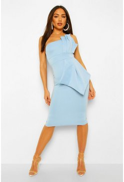 Blue One Shoulder Pleated Detail Midi Dress