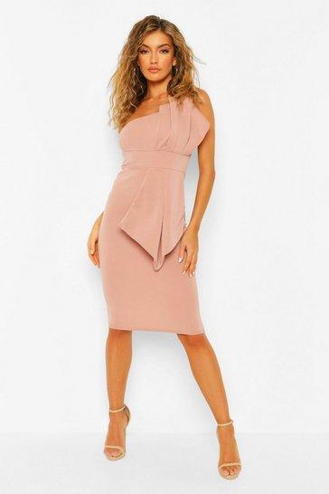 Blush pink One Shoulder Pleated Detail Midi Dress