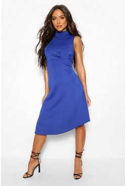 Cobalt High Neck Asymetric Midi Skater Dress