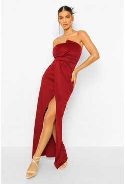 Berry red Bandeau Wrap Detail Split Maxi Dress